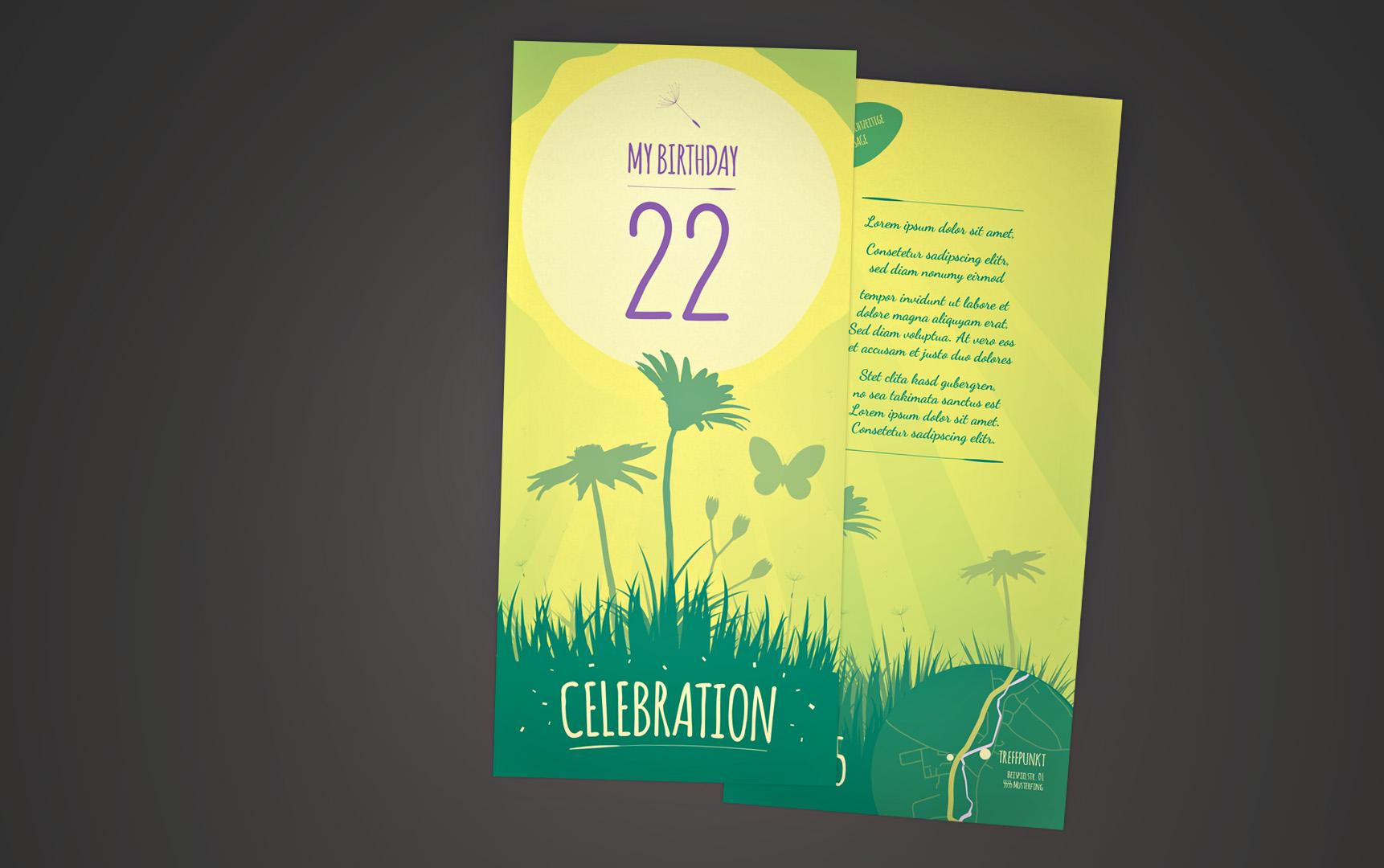 Fröhliche Geburtstagseinladung in Gelb/Grün mit Frühlingsmotiven